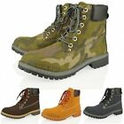 WOMENS LADIES MILITARY ARMY LACE UP ANKLE WINTER BOOTS SHOES SIZE 3-8