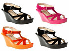 WOMENS FAUX SUEDE PLATFORM WEDGE STRAPPY SUMMER SANDALS SHOES LADIES UK SIZE 3-8