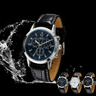 1pc Sport Military Quartz Dial Men Leather Wrist Watch Round Case Cheap