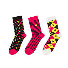 Official Minecraft Socks 3 Pack - Pink Creeper Pickaxe - Youths & Adult Sizes