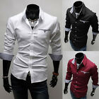 Sexy Men's Long Sleeve Dress Shirts Slim Fit Casual Formal Tee Blouse Tops Shirt