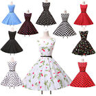 Retro Swing Sexy Rockabilly 50/60s Polka Dot Floral Petticoat Gothic Pinup Dress