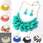 New Women Bubble Necklace Earrings Jewelry Set Bib Statement Chunky Collar Party