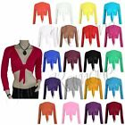 New Womens Ladies Long Sleeve Tie Front Bolero Cropped Shrug Top Cardigan 8-22