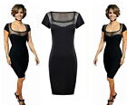 Ladies Sexy Celebrity Black Bodycon Lace Mesh Top Party Pencil  Mini Dress