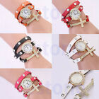 Women Punk Cross Gold Plated Faux Leather Rhinestone Quartz Bracelet WristWatch