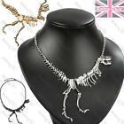 WALKING DINOSAUR SKELETON t rex NECKLACE metal skull bones GOLD/SILVER PLT goth