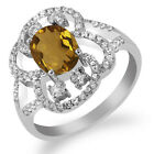 2.42 Ct Oval Natural Champagne Quartz 925 Sterling Silver Ring