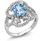 3.12 Ct Oval Natural Millennium Blue Mystic Quartz 925 Sterling Silver Ring