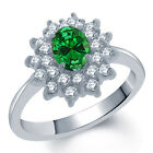 1.84 Ct Oval Green Created Emerald 14K White Gold Ring