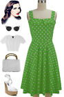 50s Style LIME GREEN with Big White POLKA DOT Fold Over Bust PEGGY SUE Sun Dress