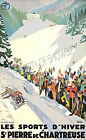 Winter sports Vintage French ad print poster, large 4 sizes available-France 195