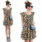 Women Sexy Personality Leopard Casual Evening Cocktail Party Mini Summer Dress