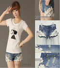 Sexy Vintage Women Nean Beaded Lace Flower Hole Skinny Denim Short Pant Trousers