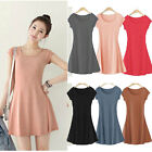 Summer Women Girl Casual Short Sleeve T-Shirt Mini Dress Skirt