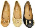 New Ladies Ballerina Ballet Dolly Pumps Womens Gold Chain Diamond Bow Flat Shoes