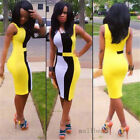 Sexy Sleeveless Slim Stitching Package Hip Dress Bodycon Party Cocktail Evening