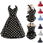 US Vintage 50's Polka Dots Rockabilly Swing Pinup Retro Party Prom dress Sz S-XL