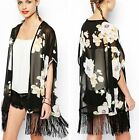 New Vintage White Floral Black Casual Chiffon Top Kimono Coat Cape Blazer Jacket