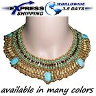 Egyptian Hand Made Beaded Cleopatra 5 Scarab Necklace Collar Christmas Dance New