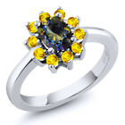 1.45 Ct Oval Blue Mystic Topaz Yellow Sapphire 925 Sterling Silver Ring