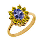 1.25 Ct Oval Blue Tanzanite Yellow Sapphire 18K Yellow Gold Ring