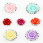10pcs Lovely Rhinestone Resin Rose Buttons Sewing Plastic Shank Buttons 16mm