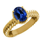 2.15 Ct Oval Blue Simulated Sapphire 14K Yellow Gold Ring