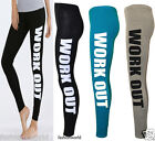 New Womens Ladies Work Out Print Full Length Stretch Legging Trouser Pants 8-14