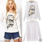 Women Lady Casual Long Sleeve Blouse White Casual Owl Print Beading Pullover