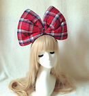 Red Tartan Oversized Super Giant Big Bow Hair Headband Photo Props Leopard