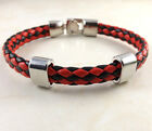 2014US Men Leather Wrap Wristband Black+Red Cuff Punk Wristband Bracelet Charm