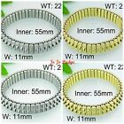 Stainless Steel Expansion Bracelets -Notched -Gold or Silver - 11mm Wide - B01