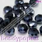 100 - 300 Glass Beads Abacus Shaped 6 mm x 4 mm Suncatcher Faceted Black 6320