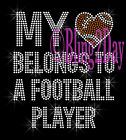 My Heart Belongs - FOOTBALL Player - Rhinestone Iron on Transfer Hot Fix Bling