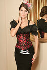 Red Satin Corset Black Flora Lace Overlay Gothic Burlesque Steampunk S M Fetish