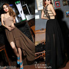 New Design Sheer Sleeveless Lace Open-Back Evening Formal Dress Prom Party Skirt