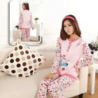 Women Winter Spring Crew Neck Long Sleeve Pajamas sets Sleepwear Nightwear N98B