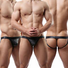 Sexy Men's Underwear Thongs G-string T-back Leather Jockstrap Boxer Trunks#C4