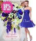♥ BNWT RENEE Corsage Blue Sapphire Chiffon Prom Evening Bridesmaid Dress 8 - 18