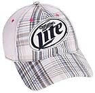 Miller Light Plaid Beer Cap / Embroidery Logo with Velcro Strap