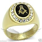 Men's Masonic Freemason Ring Gold Plated Top Grade Crystal Accented TK766