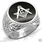 Men's Masonic Freemason Ring Stainless Steel Top Grade Crystal Accented TK8X034