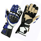NEW MENS BLACK/BLUE MOTORCYCLE MOTORBIKE GLOVES WITH KNUCKLE ARMOUR & VENTS