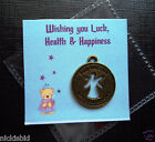 GOOD LUCK, HEALTH & HAPPINESS CHARM ON CUTE BEAR CARD WITH ENVELOPE - IDEAL GIFT