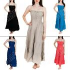 New Womens Ladies Corset Style Summer Bandeau Linen Maxi Dress Size  10 12 14 16