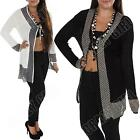 New Womens Ladies Tie-Up Mesh Ribbed Long Open Party Cardigan Top Size 8 10 12