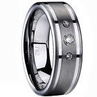 Ladies Mens Tungsten Carbide Lab Diamond Engagement Wedding Ring Band 8mm