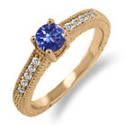 0.56 Ct Round Blue Tanzanite White Sapphire 925 Rose Gold Plated Silver Ring