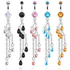 Steel CZ Navel Belly Ring Waterfall Vine Dangle blue pink black topaz clear